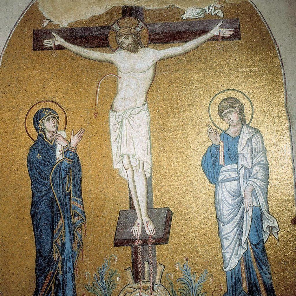 Discover Classical Athens_Dapni monastery mosaic_Christ crucifixion