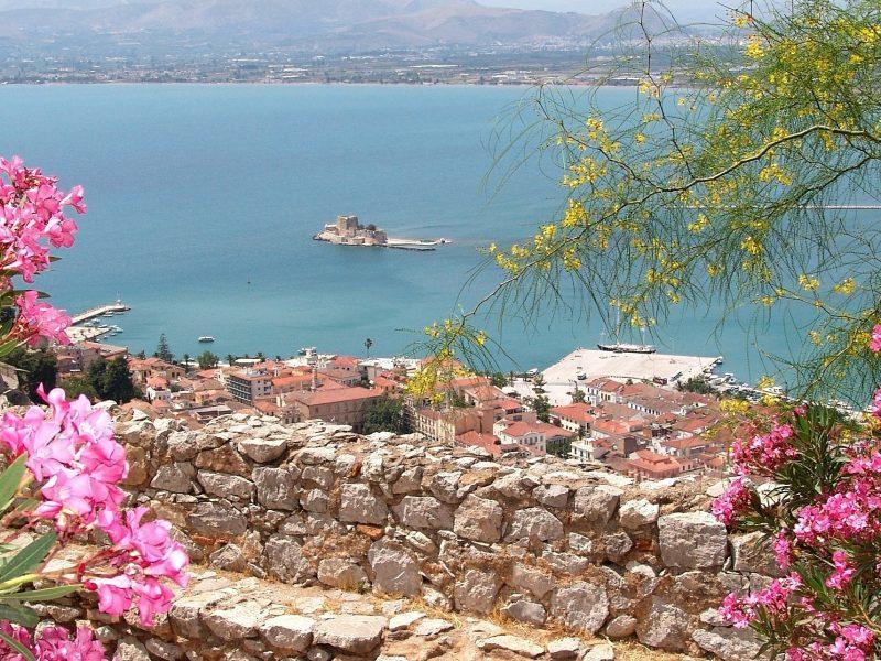 Discover Mythical Peloponnese_Nafplio_Palamidi_view_Bourtzi_Peloponnese